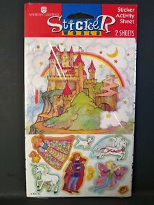 Vintage Stickers American Greetings Castle Rainbow Unicorn Sticker Sheets VTG