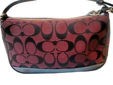 COACH Authentic Signature Jacguard Leather CRANBERRY WINE Handbag So Cute Fr Shp