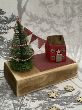 Handmade Cottages Wooden Ornament Christmas Tree