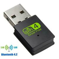 USB2.0 WiFi Bluetooth Dual Band Wireless External Receiver Adapter For PC P4J8