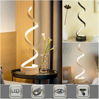 Spiral LED Table Lamp Curved Desk Lamp Modern Light Bedside Bedroom White 	 h