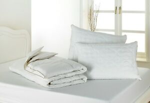 PURE WOOL BEDDING 5 Tog Cool Summer Duvet / Quilted Pillows *100% Cotton Cover*