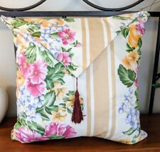 "Large Flower Pillow Grapes Flap Over with Tassel 16"" x 14"""