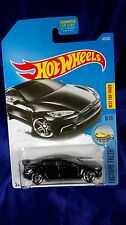 2017 Hot Wheels Tesla Model S Jet Black Rear Spoiler Factory Fresh Case B New