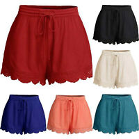 Plus Size Women Elastic High Waist Lace Crochet Loose Pants Casual Summer Shorts