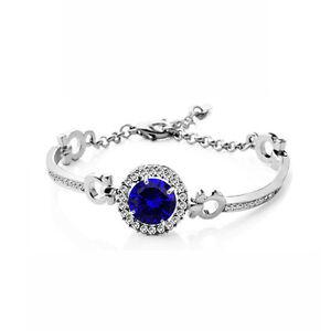 Women Sapphire Blue Bracelet with Cubic Zirconia Stone Silver tone bangle BB161
