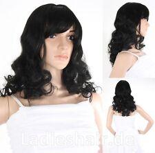 Schwarze Lange Gelockt Perücken & Haarteile