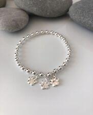 Sterling Silver Dog Bracelet. Silver Paw Print Bracelet. Silver Beaded Stretch