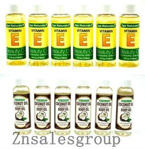 Spa Naturals Vitamin E Beauty Oil / Coconut Body Oil Soft Skin 4oz (Made In USA)
