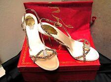 Rene Caovilla Cam $1095 Leather heels jewels sandals Leopard 8,5  9 39 NEW