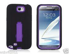Samsung Galaxy Note II 2 Hybrid S Armor Case Skin Cover w/ Stand Black Purple