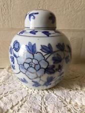 Vintage Chinese Ginger Jar Blue & White Floral