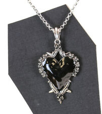 Black Rose Secred Heart ThronesSteampunk Necklace Pendant Punk Gothic Cosplay