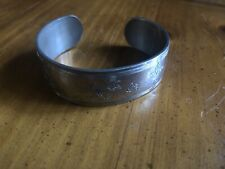 Vintage Lenox Kirk Stieff Collection Pewter Etched Cuff Bracelet Metal Jewelry