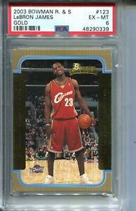 2003 Bowman Basketball GOLD 123 Lebron James Rookie Card Graded PSA Ex Mint 6