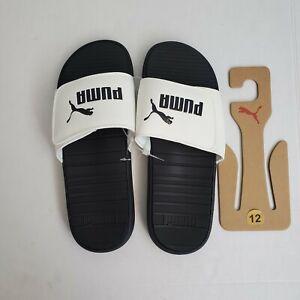 Puma Cool Cat V Size 12 White Black Logo Adjustable Men's Slide Sandals NWT