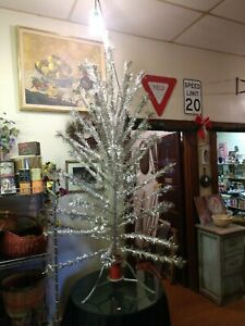 """Vintage 6 ft  55 24"""" Branches Pom Pom Aluminum Christmas Tree w Stand - Silver"""