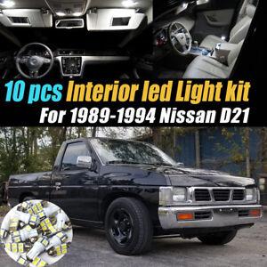 10Pc Super White Car Interior LED Light Bulb Kit Pack for 1989-1994 Nissan D21