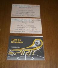 2 1986 PITTSBURGH SPIRIT vs  LOS ANGELES LAZERS TICKET STUBS & 1984-85 SCHEDULE