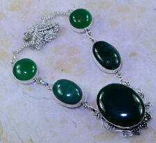 """BEAUTIFUL HUGE GENUINE NATURAL EMERALD & CHRYSOPHRASE 925 SILVER NECKLACE 21"""""""