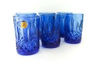 Neman Crystal Blue Shot Glasses 40ml/1.35oz Hand-Made Set of 6 Cobalt Glassware