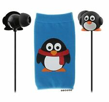 Kids Penguin In Ear Headphones Small Light Comfy Childrens Earphones with Pouch