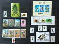 INSECTS AND BEE: 4 minisheets and 17 stamps