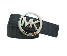 Michael Kors Black Logo Signature Leather Silver MK Round Buckle Belt 553342 NEW