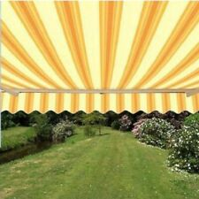 ALEKO Motorized Retractable Patio Awning 20 X 10 Ft Multistripe Yellow Color