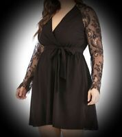 New Black Gothic Empire Waist Wrap Lace Sleeve Chiffon Dress size 3XL 16 18 20