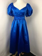 VTG House of Bianchi 80s 90s Satin Blue Puff Sleeve Dress Formal Prom S/M EUC