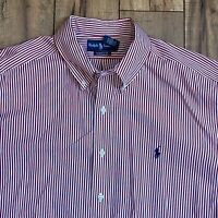 Nautica Sea Voyage Button Down Shirt L/S Red White Blue Men's XXL