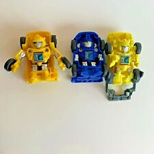Lot of 3 Transformers Bot Shots Cars Yellow Blue A4