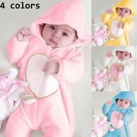 Newborn Hooded Romper Jumpsuit Bodysuit Clothes Outfits Baby Boy Girl Kids Heart