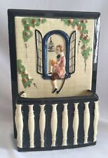 Vintage Wall Pocket Made In Japan Hand Painted Young Man in Window Birdcage