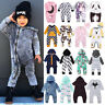 Hot Kids Baby Boys Girls Hooded One Piece Jumpsuit Romper Casual Outfit Clothes