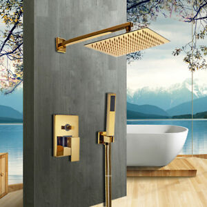 "New Bathroom Wall Mounted 8"" Golden Shower Head + Hand Spray + Control Valve Set"