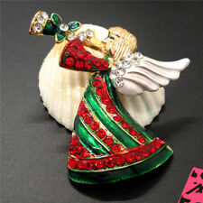 Trumpet Christmas Betsey Johnson Brooch Pin New Enamel Cute Angel Girl Mix color