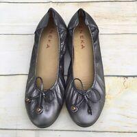 Eneka Sabrina Pewter Silver Gray Metallic Leather Ballet Comfort Flats US 9 EU39