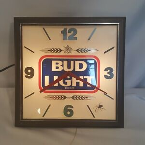 1988 Anheuser Busch Bud Light Label Sign Electric Light and Clock