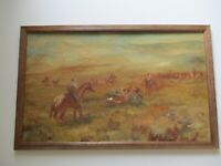 LARGE VINTAGE WESTERN PAINTING AMERICAN LISTED IMPRESSIONIST COWBOY HORSES RANCH