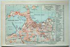 Alexandria, Egypt - Original 1908 City Map by Meyers. Antique