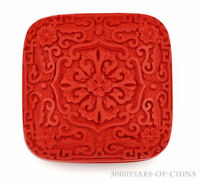 """3.14/"""" Fillet Shape /""""吉祥如意Good Fortune/"""" Handmade Carved Red Color Lacquer Box 05"""