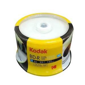 50 Genuine KODAK Blank Printable Bluray BD-R Layer 25GB Blu-ray Disc 6x Spindle