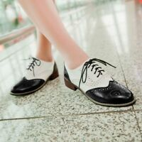 Elegant Ladies Wing Tip Lace Up Brogue Retro Pretty Shoes Low Heel Girls Oxfords