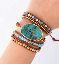 Unique Mixed Natural Stones Gilded Stone Charm 5 Strands Leather Wrap Bracelets