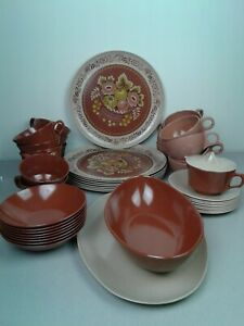 44 Piece NHP plates and Stetson melamine cup dinnerware set