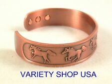 Horse Themed Pure Copper Wide Designer Magnetic Bangle Cuff Bracelet CMHORSE