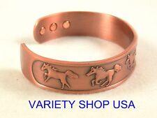 Horse Themed Pure Copper Wide Designer Magnetic Bangle Cuff Bracelet CMHORSE