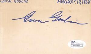 GOOSE GOSLIN d 1971 Signed 3X5 Index Card Baseball JSA U88517*